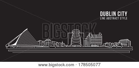 Cityscape Building Line art Vector Illustration design - Dublin city