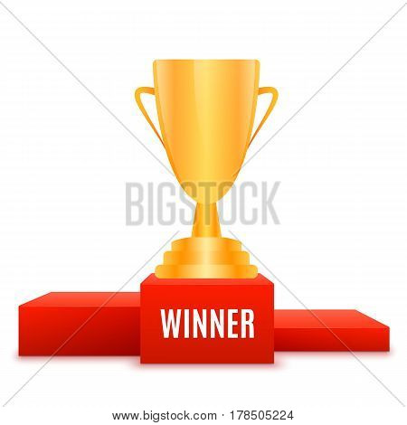 1st place design. Winners pedestal isolated on white background. Red podium with gold prize cup. The award for first place. Vector illustration.
