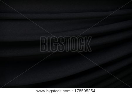 Black fabric wave abstract texture and background