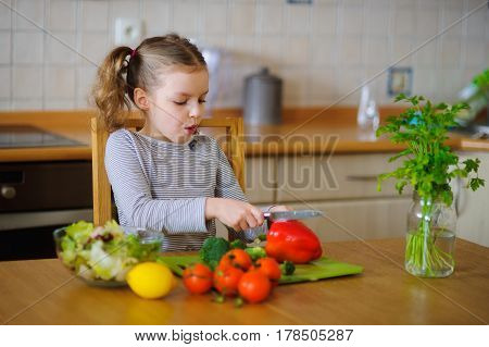 Cute girl of younger school age cuts vegetables and greens for salad. Salad bowl is already full but little cook still cuts some red paprika . Kitchen is purely cleaned. On a table various fresh vegetables.