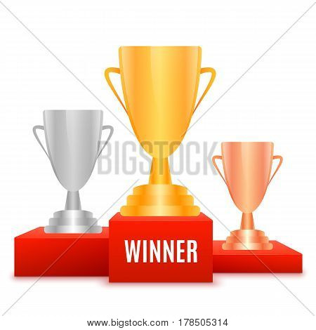 1st place design. Winners pedestal isolated on white background. Red podium with gold silver and bronze prize cup. The award for first place. Vector illustration.