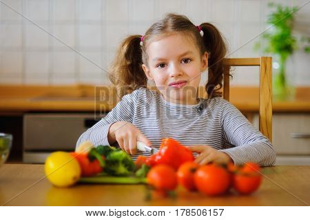 Girl 8-9 years old in the kitchen slicing vegetables for a salad. On the table there are a lot of different vegetables. They look very appetizing. The habit of healthy food from childhood.