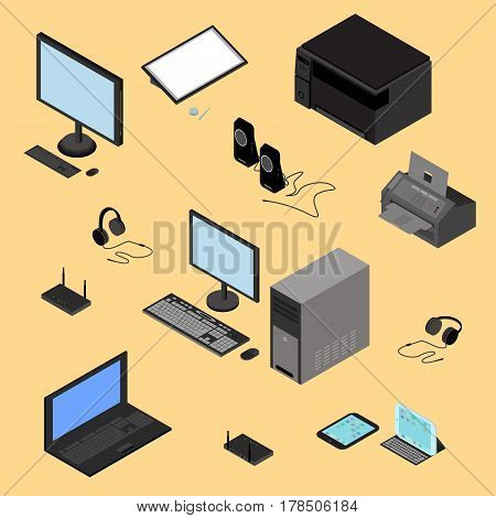 Isometric computer technology concept. Tablet laptop processor printer peripheral devices router headphones fax in vector