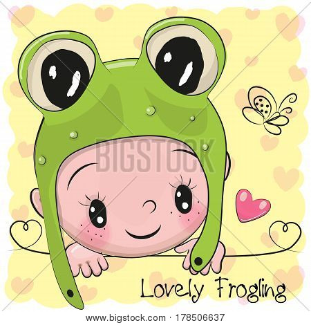 Cute Cartoon Baby boy in a frog hat