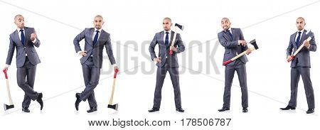 Collage of photos with man and axe