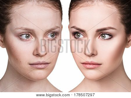 Comparison portrait of young woman before and after make-up.