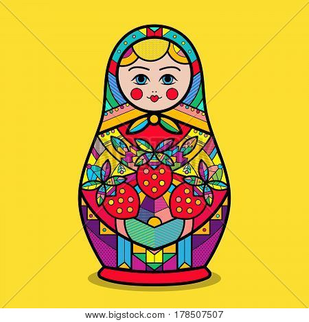 Matrioshka. Vector traditional russian nesting doll with flower pop art pattern. Flat style. Matrioshka icon in cartoon style isolated on background. Russian country symbol for t-shirt.