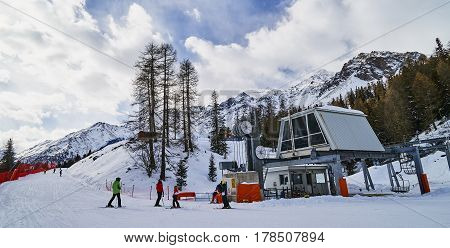 PEJO ITALY - MARCH 7 2017:Ski lift of the ski station on 7 March 2017 in Pejo Italy. The ski station in Pejo is not great but thanks to that there are not many people here