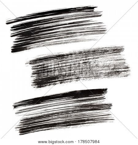 Set of black brush strokes isolated on the white background. Elements for your design