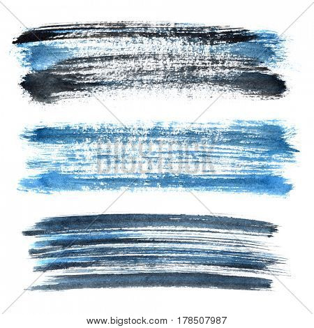 Set of blue grunge brush strokes isolated on the white background. Elements for your design