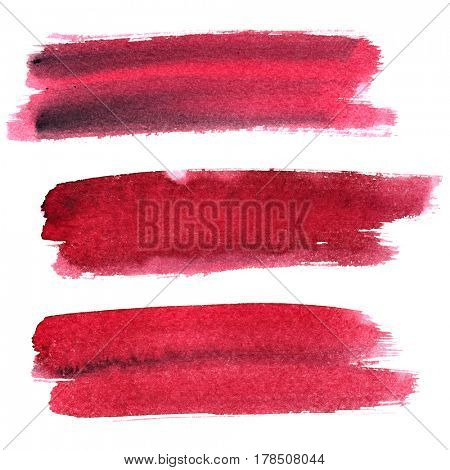 Set of dark red expressive brush strokes isolated on the white background. Elements for your design