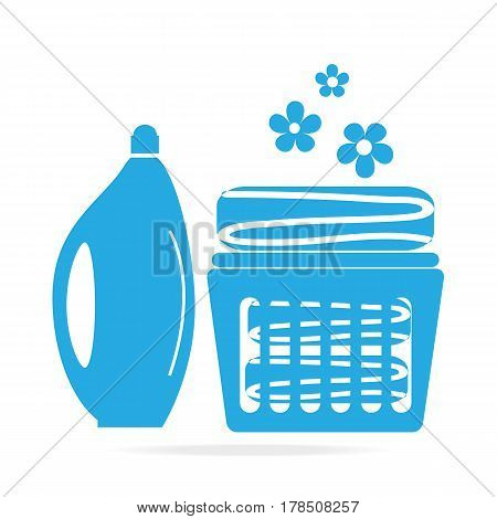 Detergents icon sign Detergents and fabric in basket icon