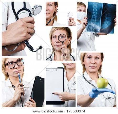 Collage of female doctor with different equipment over white background.
