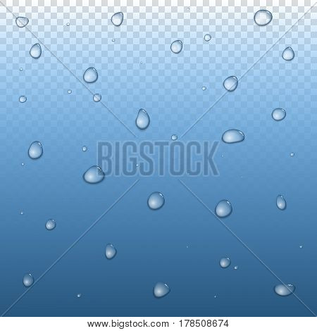 Realistic raindrop set on glass. Vector water drops. Raindrops vapor on transparent background.