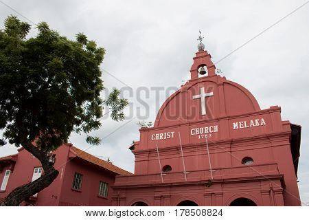 Christ church & Dutch square in Malacca Malaysia. Malacca christ built in 1753 by Dutch The oldest 18th century protestant church in Malaysia.