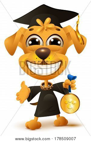 Dog school graduation. Yellow puppy in black robe holds reward. Isolated on white fun vector cartoon illustration