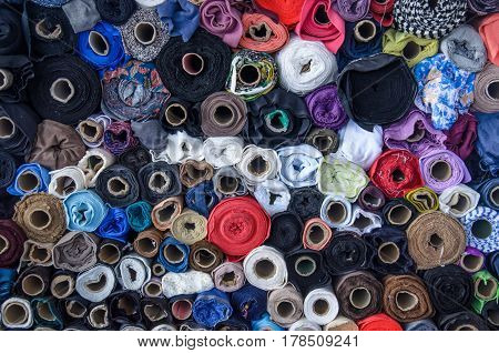 Large amount of different colored sewing thread. Wide view