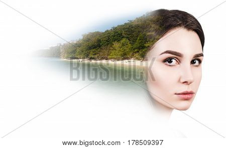 Double exposure of beautiful young woman and beach. Over white background