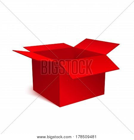 Red box isolated on white background. An open empty box. Bright Gift Packaging. Vector illustration