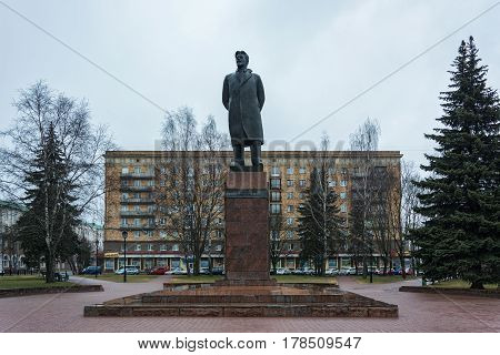 Belarus, Minsk - 25.03.2017: Monument to M.I. Kalinin on the square of the same name
