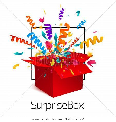Surprise box isolated on white background with confetti explosion. An open empty red box. Gift box icon concept. Vector illustration