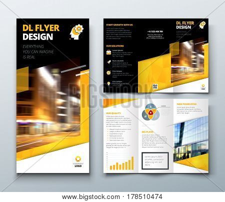 Tri fold brochure design. DL Corporate business template for try fold brochure or flyer. Layout with modern elements and abstract background. Creative concept folded flyer or brochure.