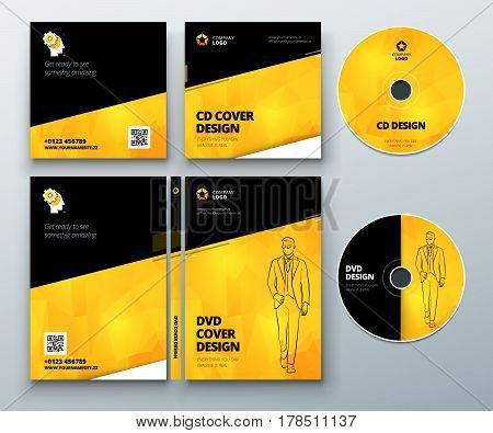 CD envelope, DVD case design. Black Yellow Corporate business template for CD envelope and DVD case. Layout with modern triangle elements and abstract background. Creative vector concept