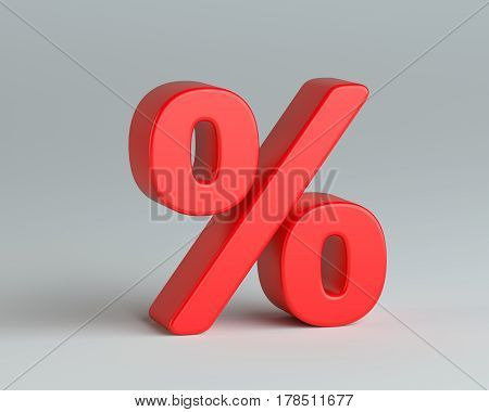 Red percentage sign on gray background. 3D illustration