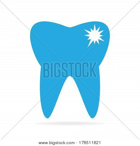 Tooth caries tooth decay icon, flat illustration