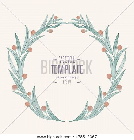 Card, Watercolor wedding invitation design with flower, bud and leaves. Hand painted floral elements. Template. Frame, Pastel color.