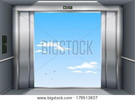 Open to sky door of the freight elevator hospital or office building. Metal armored sliding door.