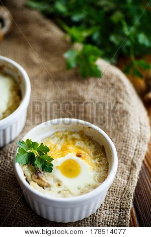 Baked egg with minced fish and mushrooms in ceramic form