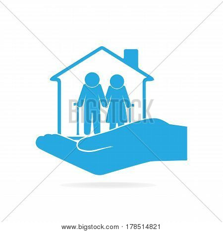 Nursing home for elderly in hand icon care or protection concept