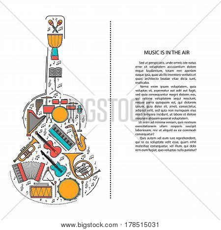 Music instrument line icons in guitar shape. Art musical brochure element. Vector decorative greeting card or invitation design background. Creative booklet concept. Magazine cover.