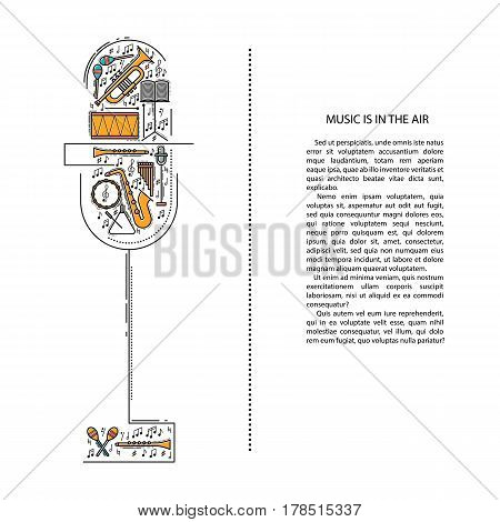 Music instrument line icons in microphone shape. Art musical brochure element. Vector decorative greeting card or invitation design background. Creative booklet concept. Magazine cover.