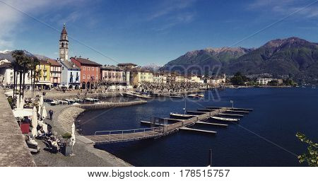 Landscape of the lake side of Ascona, Canton Ticino, Switzerland.