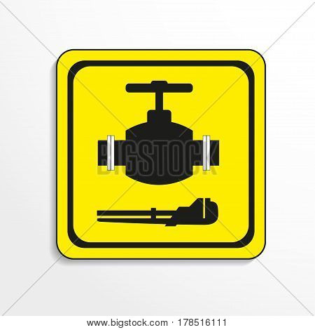 Symbol. Water works. Vector icon. Black-and-white object on a yellow background.