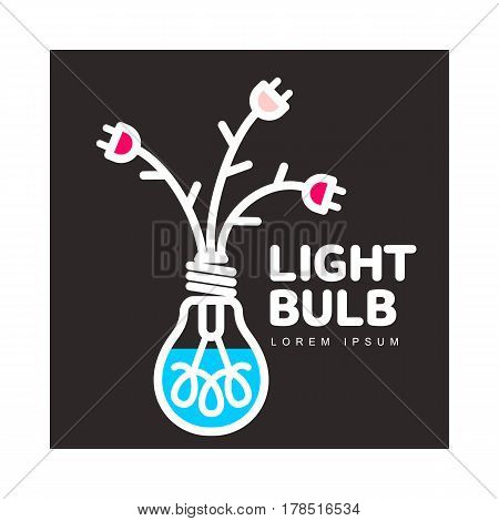 Light bulb logo template with three flowers formed by powers cables and electric plugs, vector illustration isolated on black background. Light bulb logotype, logo design with power cables as flowers