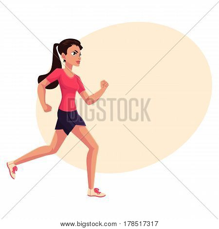 Young and pretty female runner, sprinter, jogger, cartoon vector illustration with place for text. Woman, girl running, sprinter, track and field, healthy lifestyle concept