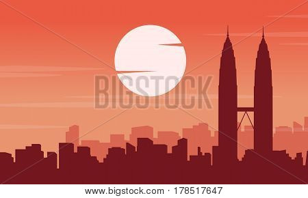 Scenery silhouette of Malaysia city collection vector art