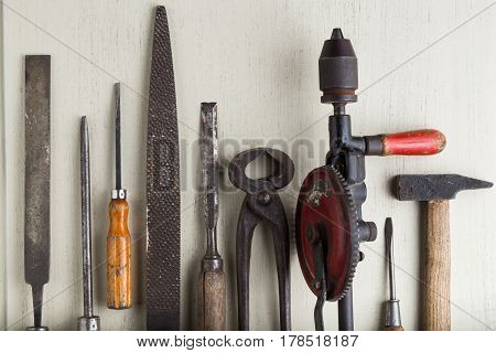 Construction Tools Set On Wooden Light Background. Assortment Instruments For Repairman, Carpenter,