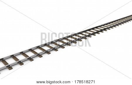 Railway track. Isolated on white background. 3D rendering illustration.