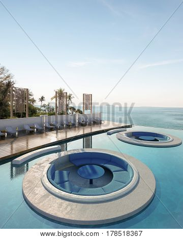Daybed in pool with Andaman Sea view- 3d rendering