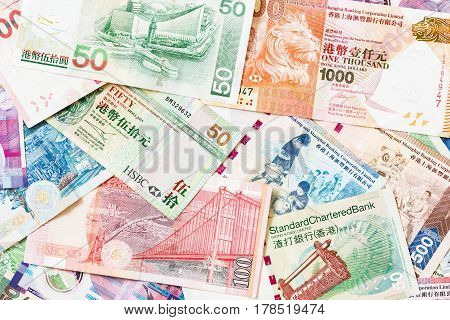 Different Hong Kong money bank notes background.