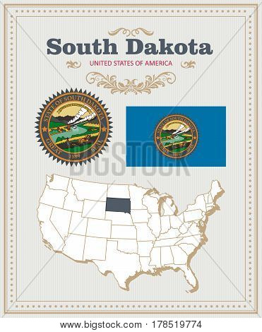 High detailed vector set with flag, coat of arms, map of South Dakota. American poster. Greeting card from United States of America. Colorful design