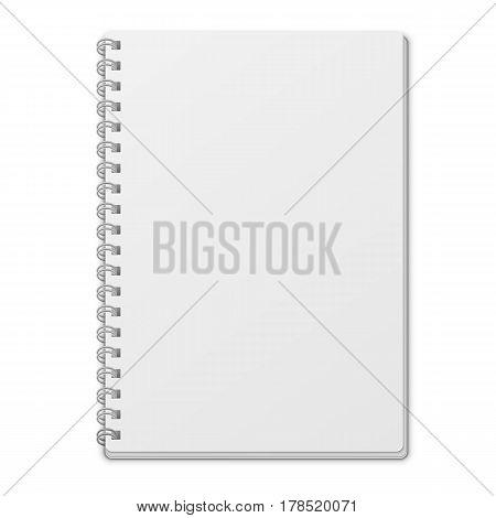 Notebook with empty blank cover isolated on white background. White object mock-up or template