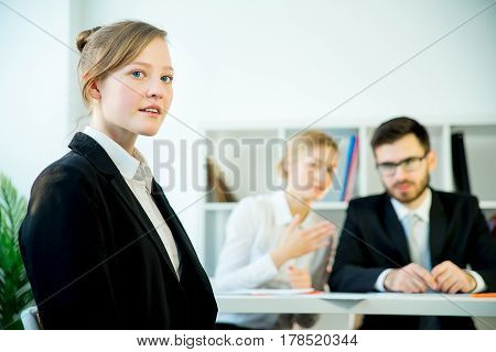 A candidate is happy after her success on a job interview