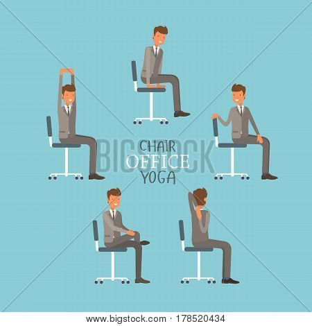 Vector Illustration With Office Chair Yoga. Businessman Doing Workout And Stretching. Man In Suit Ex
