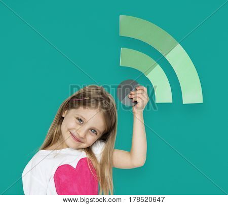 Little Girl Holding Wifi Icon