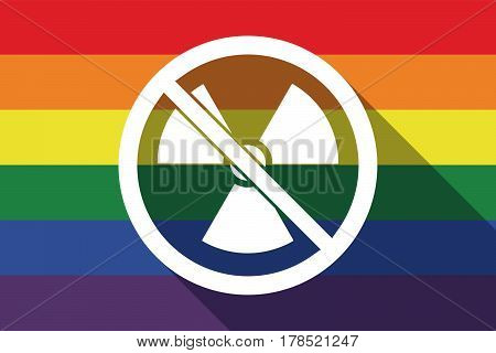 Long Shadow Gay Pride Flag With  A Radioactivity Sign  In A Not Allowed Signal